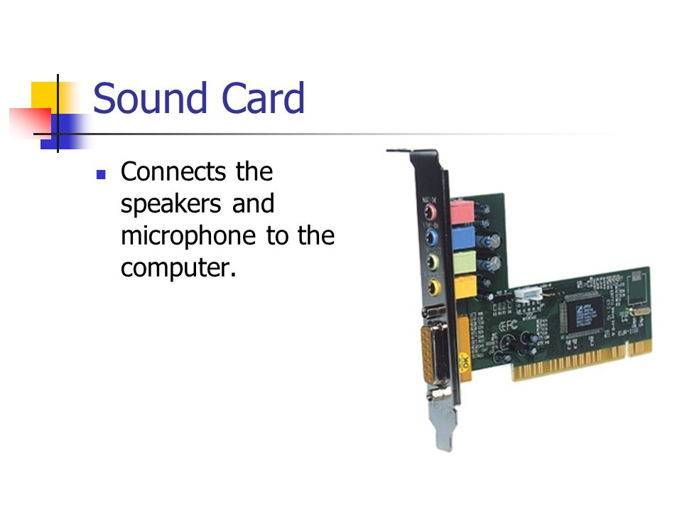 Sound Card Connects the speakers and microphone to the computer.