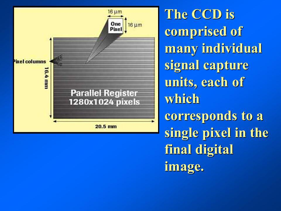 The CCD is comprised of many individual signal capture units, each of which corresponds to a single pixel in the final digital image.