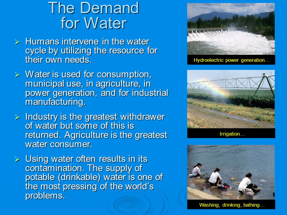 The Demand for Water Humans intervene in the water cycle by utilizing the resource for their own needs.