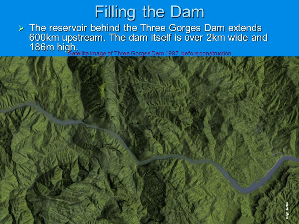 Satellite image of Three Gorges Dam 1987, before construction.
