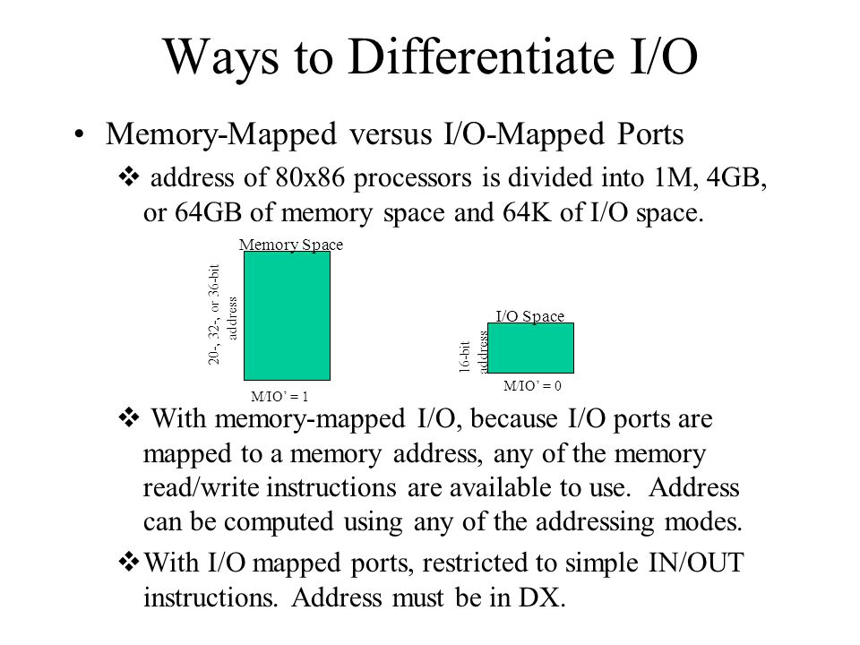 Ways to Differentiate I/O