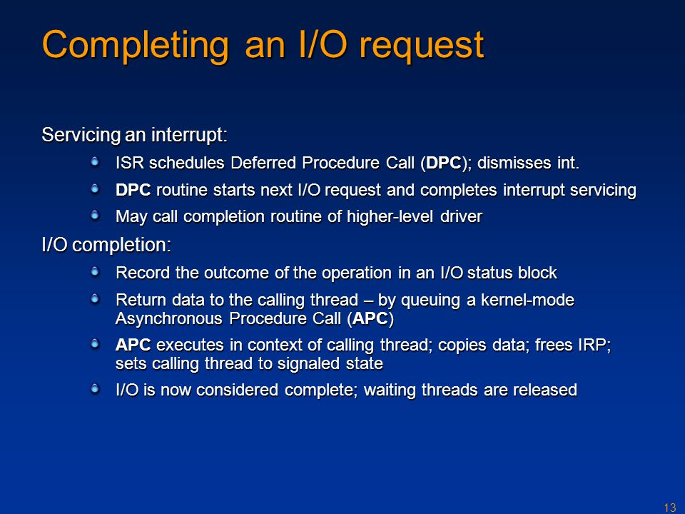 Completing an I/O request