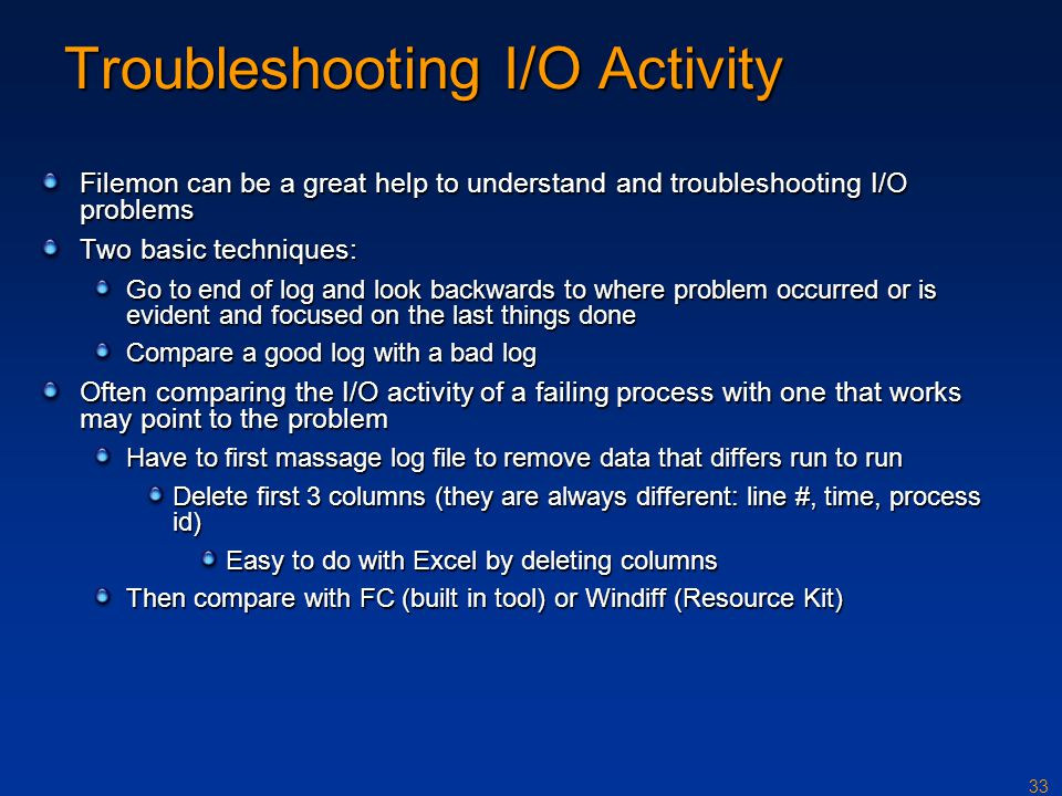 Troubleshooting I/O Activity