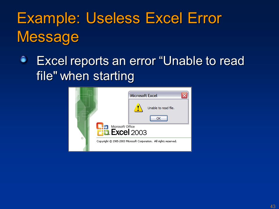 Example: Useless Excel Error Message