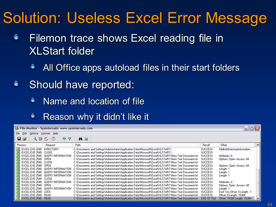 Solution: Useless Excel Error Message
