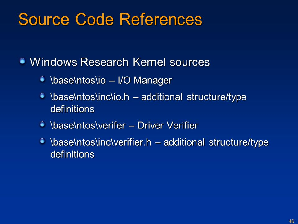 Source Code References