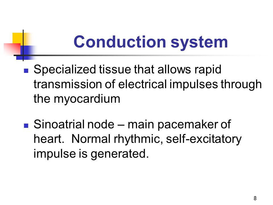 Conduction system Specialized tissue that allows rapid transmission of electrical impulses through the myocardium.