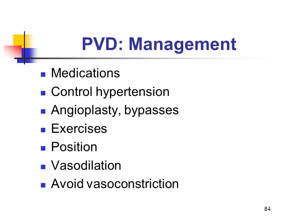 PVD: Management Medications Control hypertension Angioplasty, bypasses
