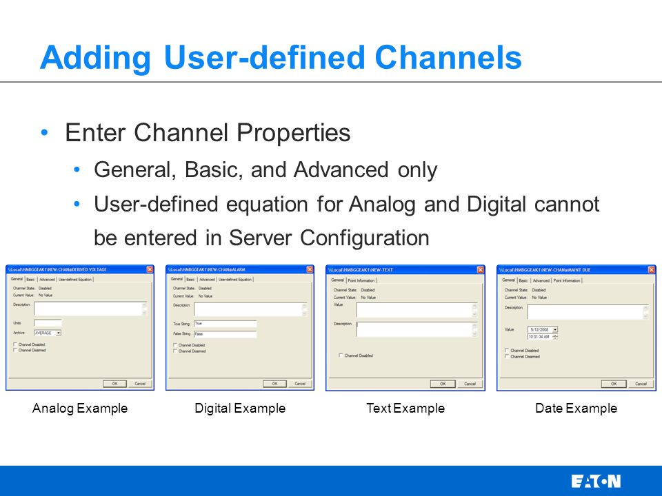 Adding User-defined Channels