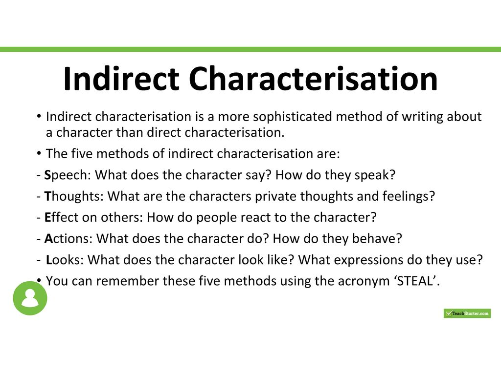 how to write a characterisation example