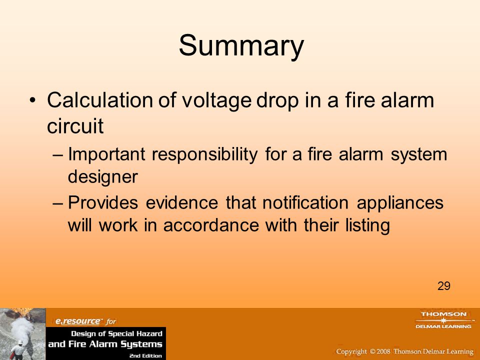 Summary Calculation of voltage drop in a fire alarm circuit