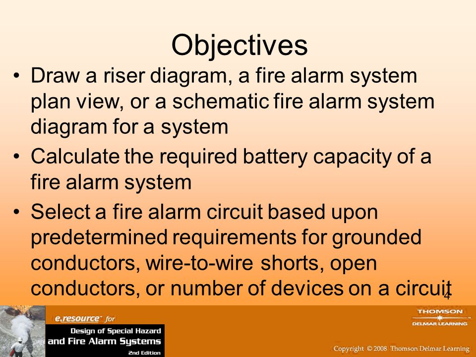 Objectives Draw a riser diagram, a fire alarm system plan view, or a schematic fire alarm system diagram for a system.