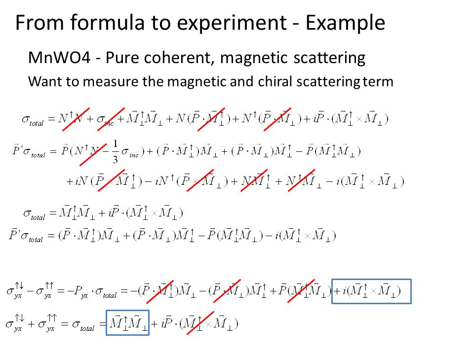 From formula to experiment - Example