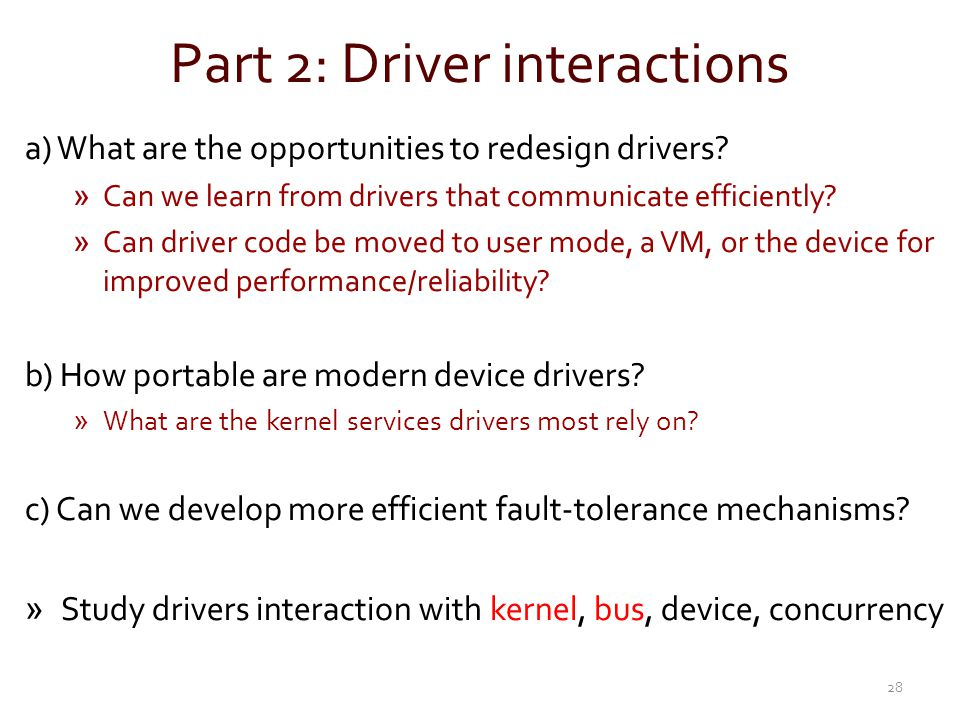 Part 2: Driver interactions