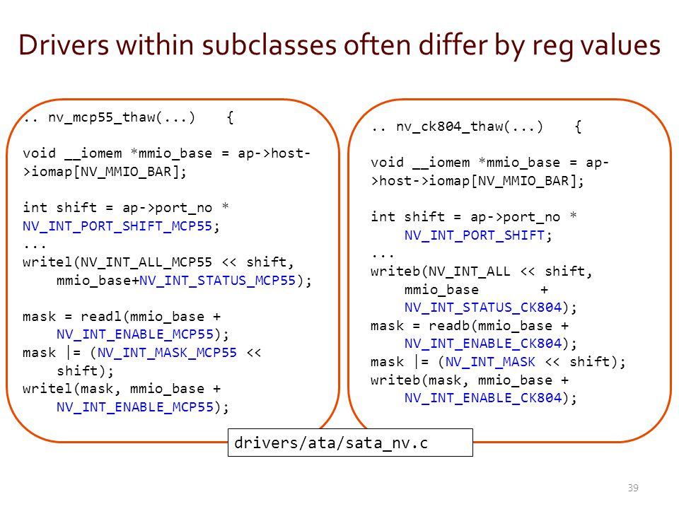 Drivers within subclasses often differ by reg values