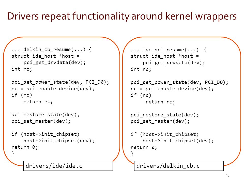 Drivers repeat functionality around kernel wrappers