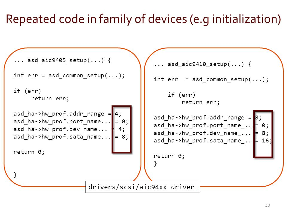 Repeated code in family of devices (e.g initialization)