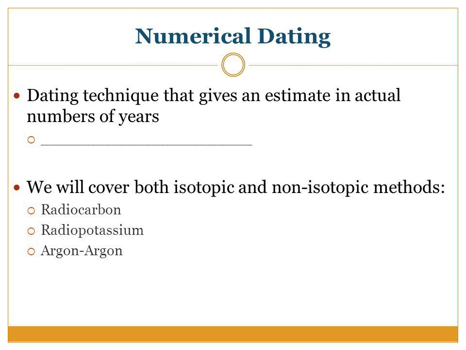 Non isotopic dating methods articles