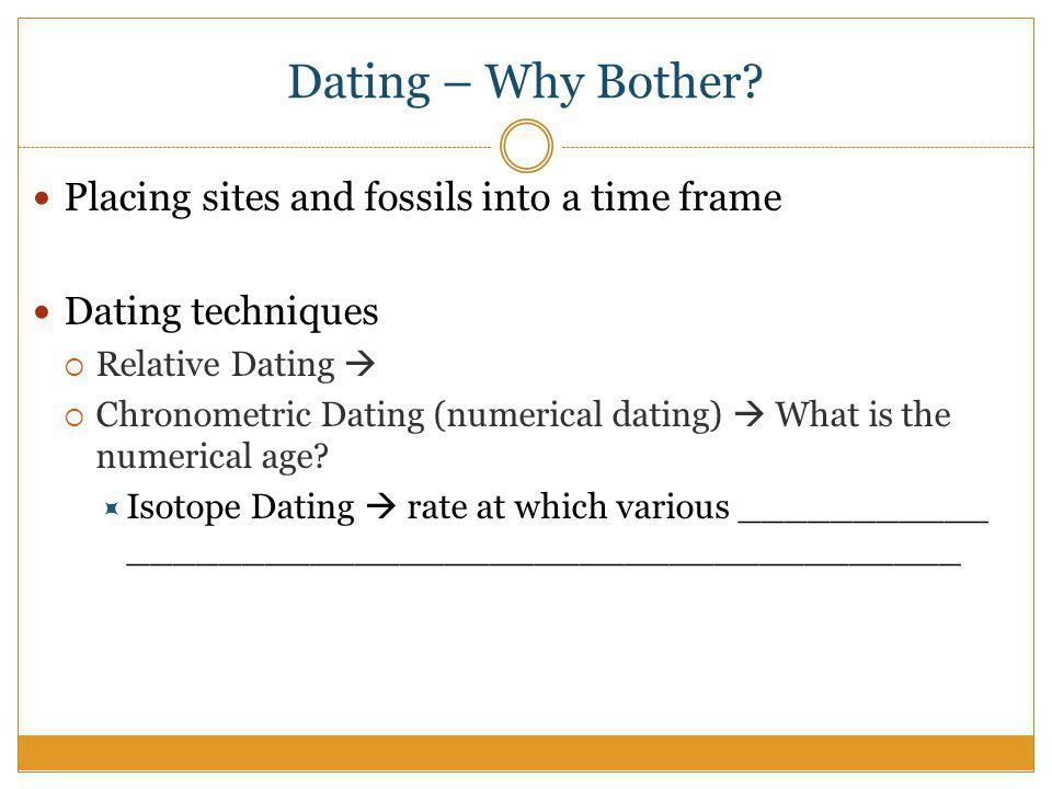 Different fossil dating techniques anthropology
