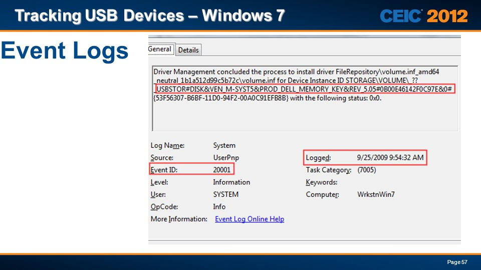 Tracking USB Devices – Windows 7
