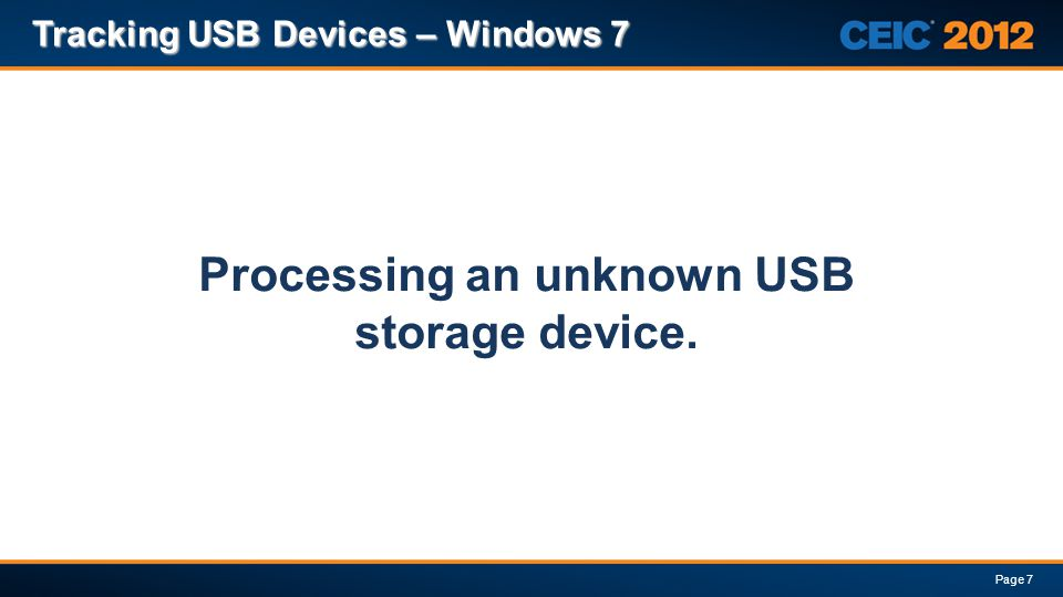 Processing an unknown USB storage device.