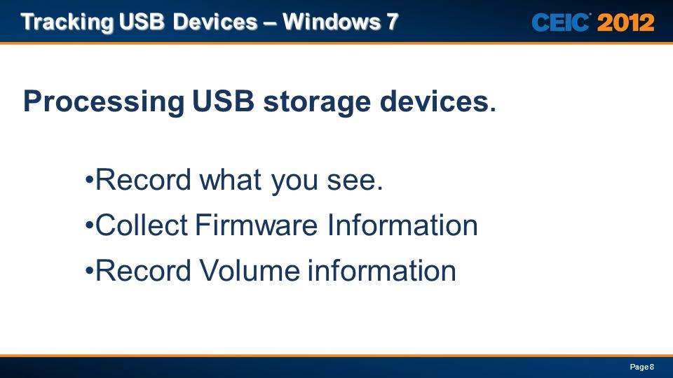 Processing USB storage devices.