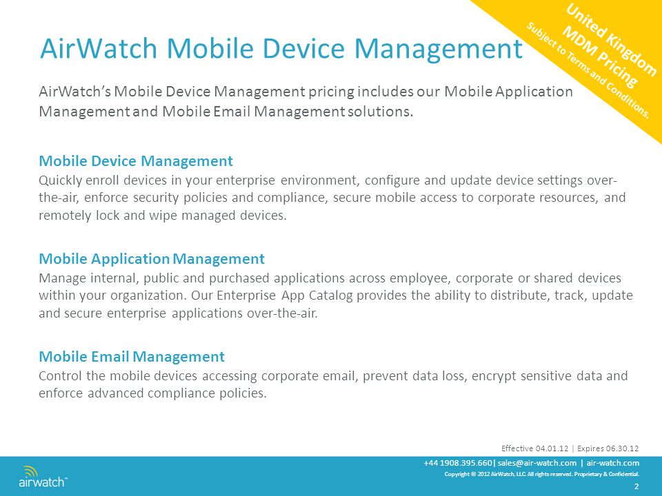 AirWatch United Kingdom Pricing Mobile Device Management