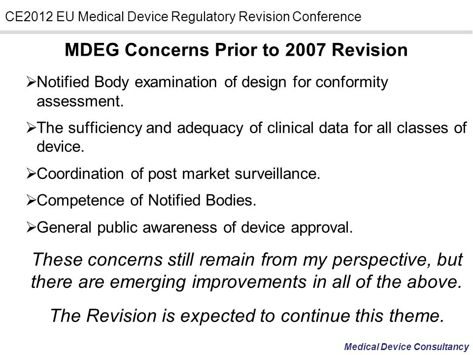 MDEG Concerns Prior to 2007 Revision