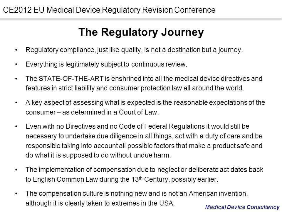 The Regulatory Journey