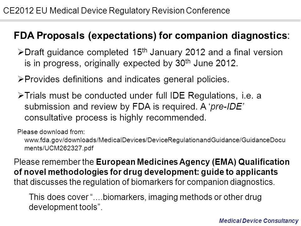 FDA Proposals (expectations) for companion diagnostics: