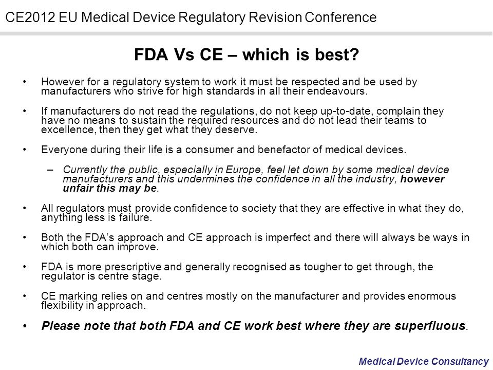 FDA Vs CE – which is best