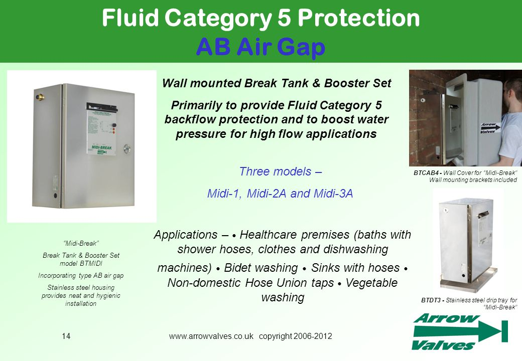 Fluid Category 5 Protection Wall mounted Break Tank & Booster Set