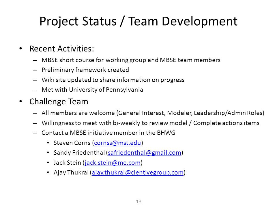 Project Status / Team Development
