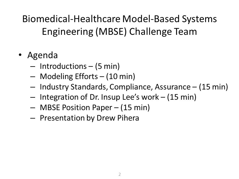 Biomedical-Healthcare Model-Based Systems Engineering (MBSE) Challenge Team