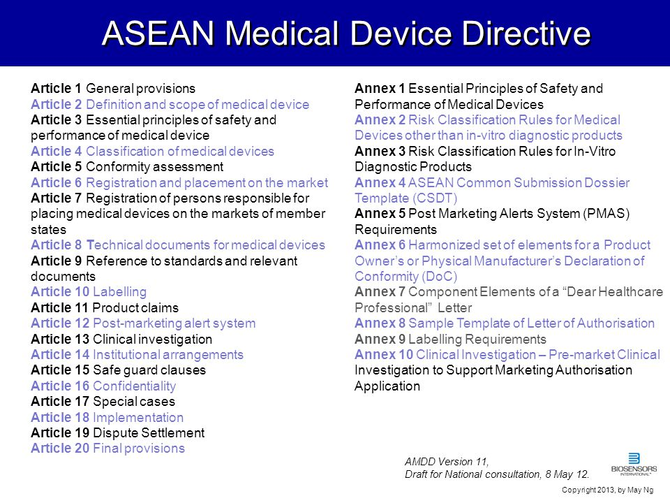 ASEAN Medical Device Directive