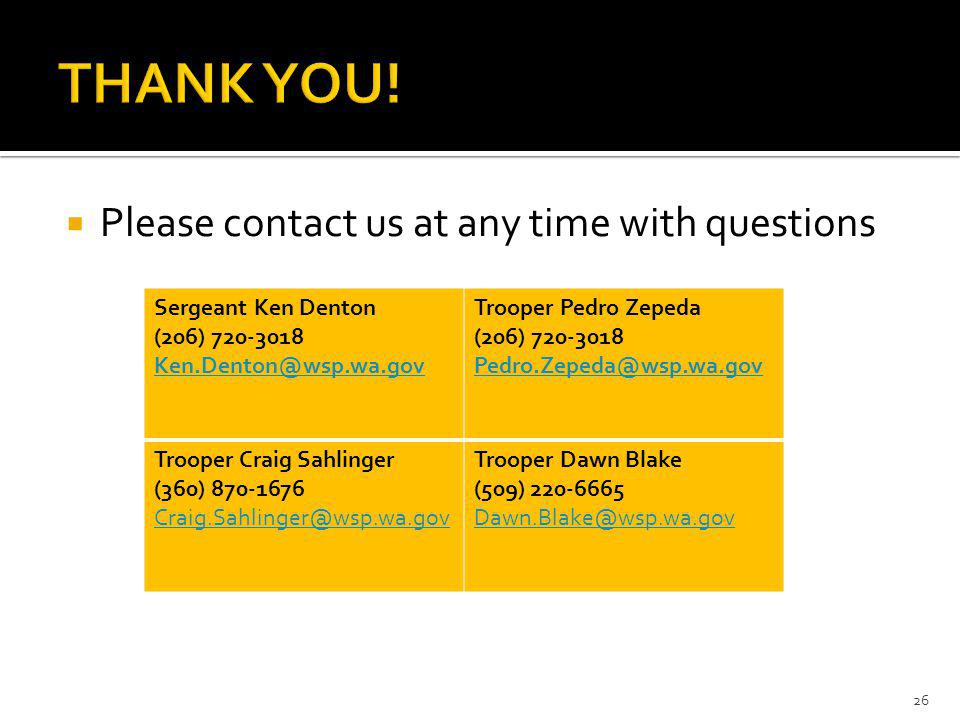 THANK YOU! Please contact us at any time with questions