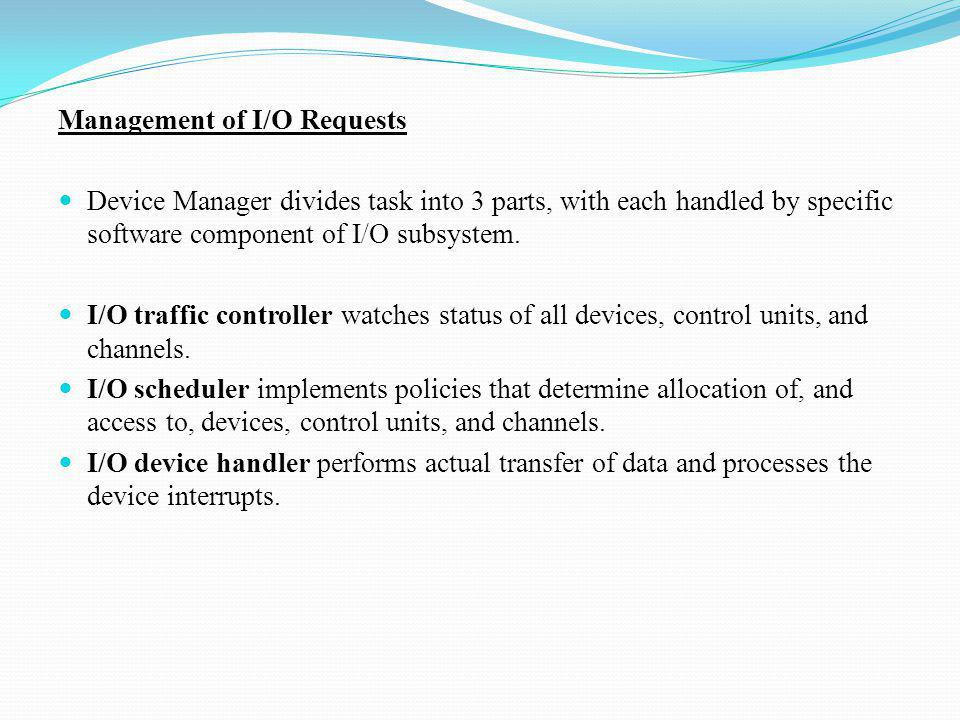 Management of I/O Requests