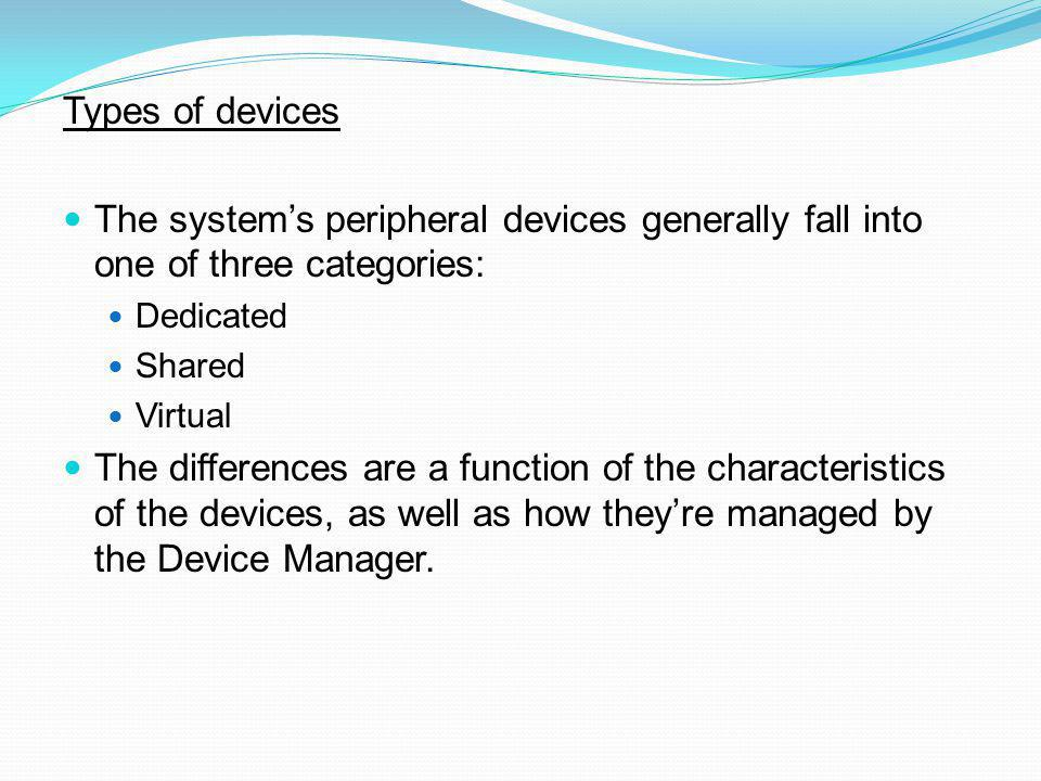 Types of devices The system's peripheral devices generally fall into one of three categories: Dedicated.