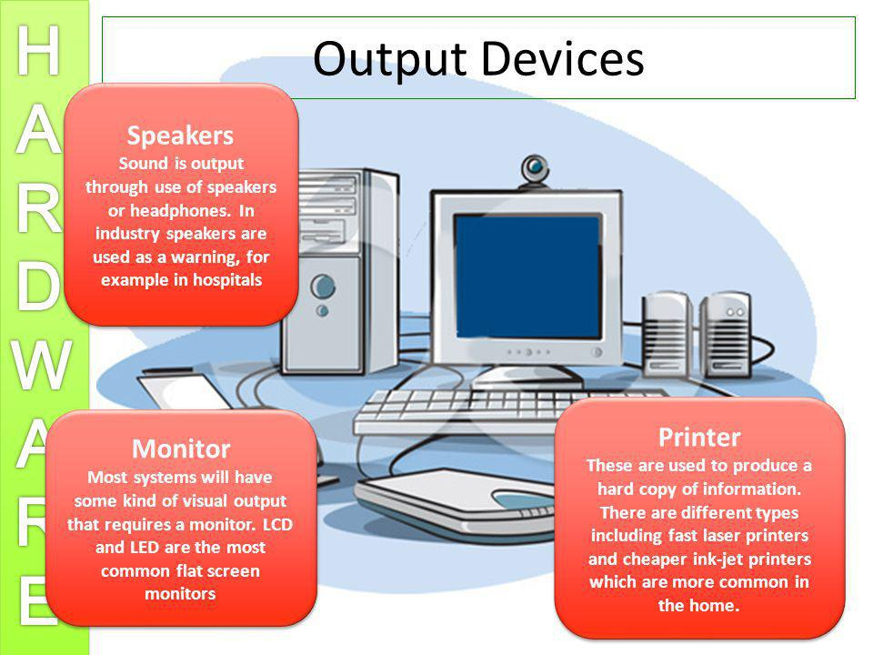 Output Devices Speakers Printer Monitor