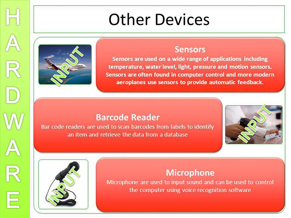 Other Devices INPUT INPUT INPUT Sensors Barcode Reader Microphone