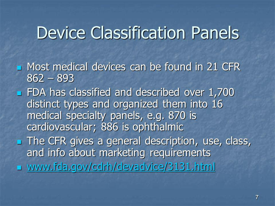 Device Classification Panels