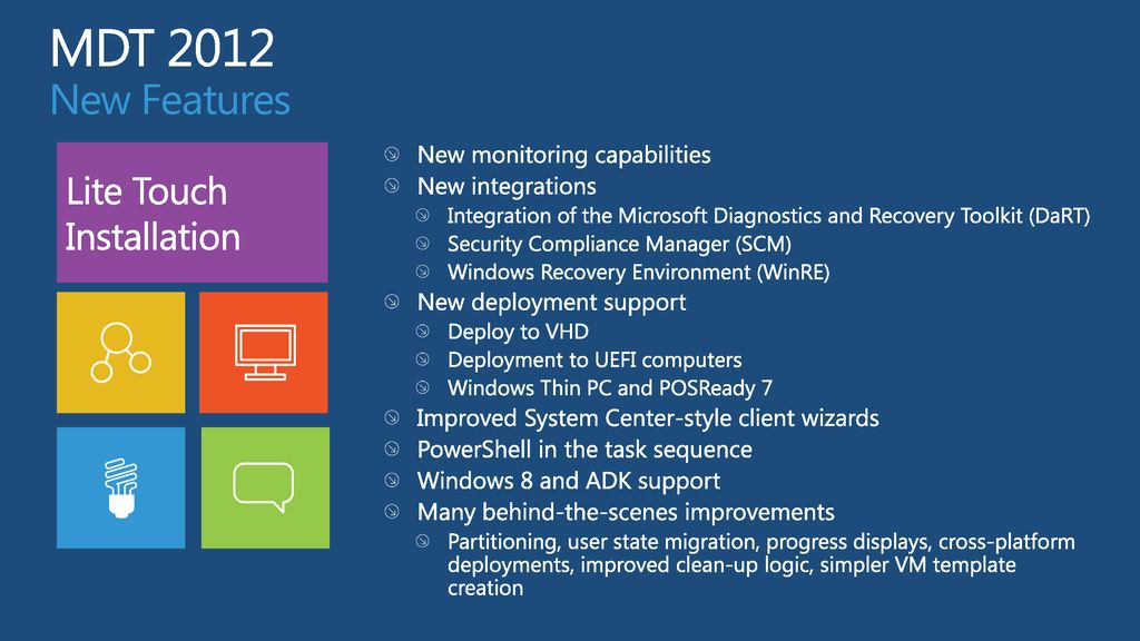 What's New in Microsoft Deployment Toolkit 2012 (MDT) - ppt download