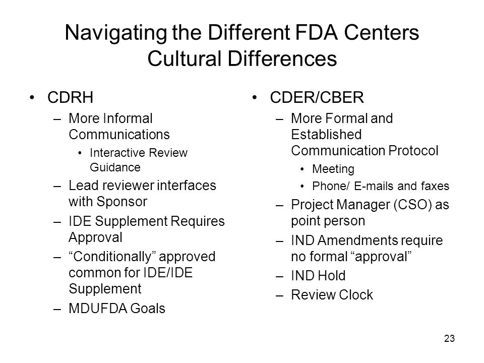 Navigating the Different FDA Centers Cultural Differences