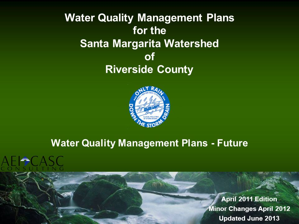 Water Quality Management Plans - Future