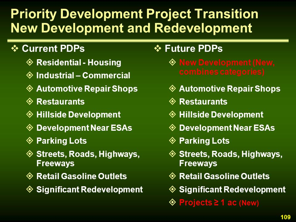 Priority Development Project Transition New Development and Redevelopment