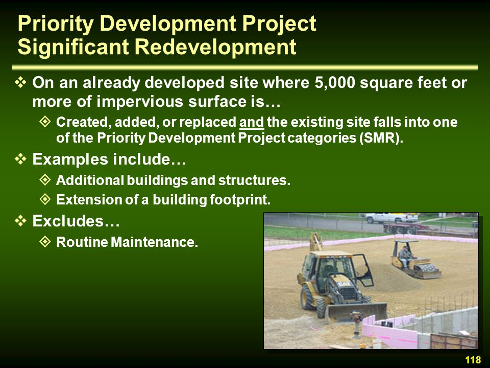 Priority Development Project Significant Redevelopment