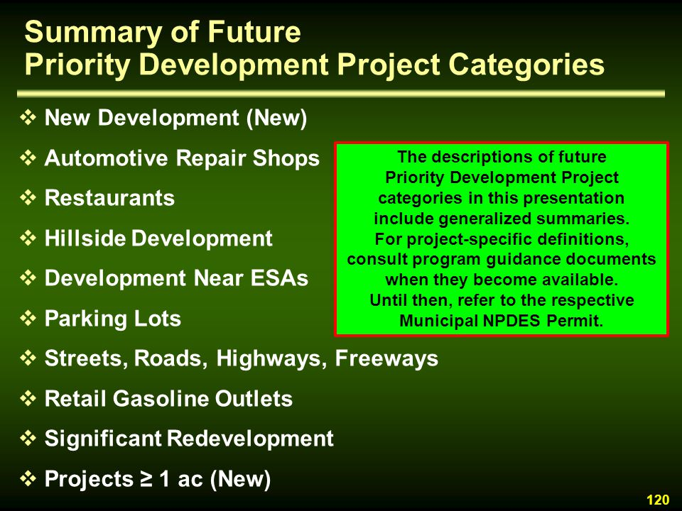 Summary of Future Priority Development Project Categories