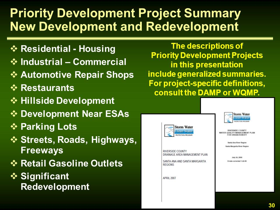 Priority Development Project Summary New Development and Redevelopment