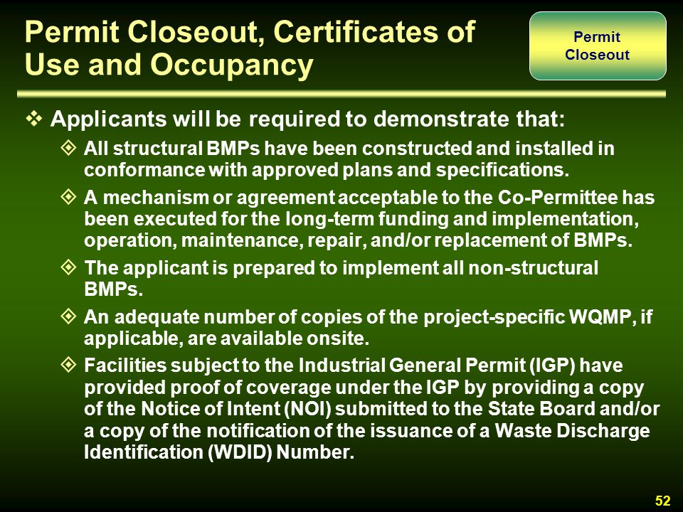Permit Closeout, Certificates of Use and Occupancy