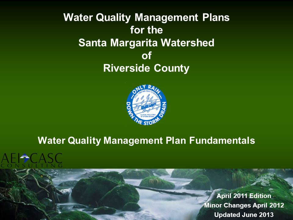 Water Quality Management Plan Fundamentals